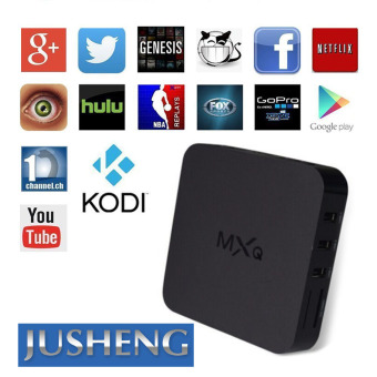 Harga JUSHENG MXQ TV BOX fully loaded Kodi XBMC Newest CPU Amlogic S905 Quad Core 1GB/8GB Wifi LAN 4k blu ray player Streaming Media Player