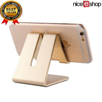 Harga niceEshop Aluminum Desktop Cell Phone Stand For All Smartphone And IPhone,Universal Mobile Phone Holder Cradle,Portable Dock Mount For IPad And Tablets (Gold) - intl