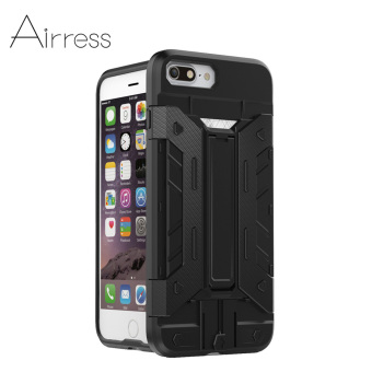 Airress Armor Rugged Military Grade Phone Case Kickstand Card Pocket For iphone 7 plus(Black)