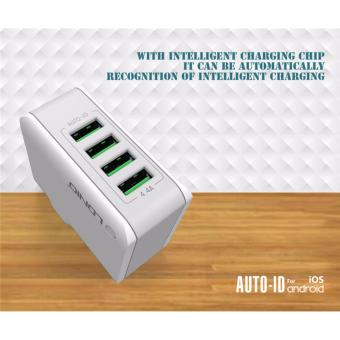 Harga LDNIO 4 ports 4.4A USB A4403 Rapid Charger with UK Plug (White) - intl