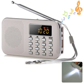 Harga Mini Multifunctional Digital LCD MP3 Radio Speaker Player (White) - intl