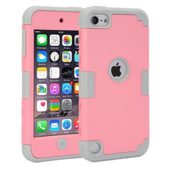 Harga TKOOFN 3 in 1 Shockproof Hybrid Color Smart Cover Case for iPod Touch 6(Pink+Gray)