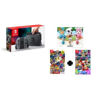 Harga Nintendo Switch (Grey) + Super Bomberman R (U.S) & Mario Kart 8 Deluxe (PAL) + 3 Random Amiibo Figurines + 1 Year Local Warranty