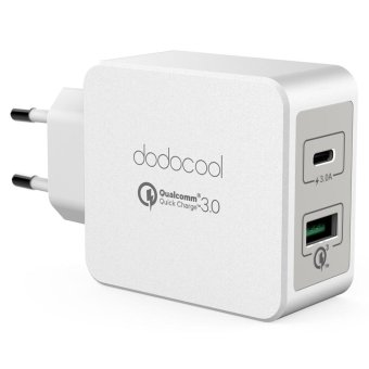 Harga dodocool 33W 2-Port USB Wall Charger Power Adapter with 18W Quick Charge 3.0 and 15W Reversible Type-C Charging Ports EU Plug White - intl(White).