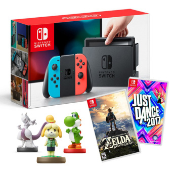 Harga Nintendo Switch with Neon Blue and Neon Red Joy-Con Bundle with 2 Games (Legend of Zelda:BoTW and Just Dance) & 3 Free Amiibo
