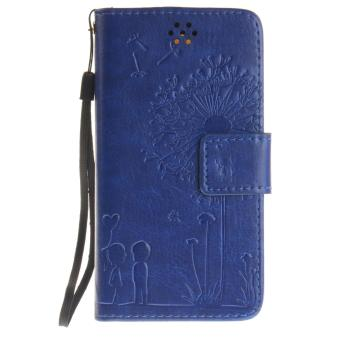 Harga Premium Magnetic Closure PU Leather Emboss Dandelion Wallet case Pattern with Card Slots Wrist Strap Flip Stand Cover for Lenovo A2010 - intl