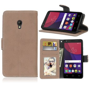 Harga Ueokeird Fashion Protective Stand Wallet Purse Credit Card ID Holders Magnetic Flip Folio TPU Soft Bumper Leather Case Cover for Alcatel One Touch Pixi 4 (5.0 inch) - intl