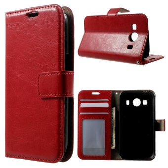 Harga Leather Wallet Cover Shell for Samsung Galaxy Ace Style LTE G357FZ / Ace 4 G357FZ (Red)