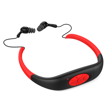 IPX8 Head Wearing Type Waterproof 8GB Water Resistant High Stereo MP3 Player (Red + Black)