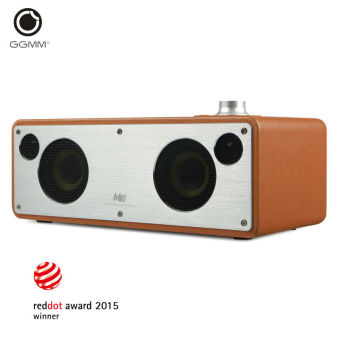 Harga GGMM WiFi Wireless Portable Bluetooth Wooden Leather HiFi Speakers M3(Camel)
