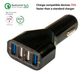 Harga [[[ Qualcomm Certified ]]] 2-ports Quick Charge 3.0 + 2-ports Smart charge - 4-ports multi USB car charger [[ Fast charging ]] (((BLACK)))