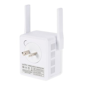 Harga 300Mbps WiFi Wireless Network Repeater Repetidor AP Client Wireless-N Range Signal Extender Dual External Antenna Full Coverage 802.11 b/g/n