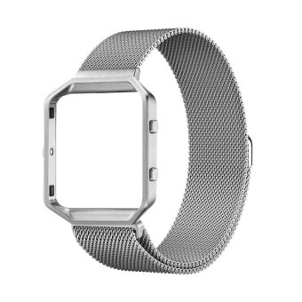 top4cus Frame and Band 2 in1 Milanese Loop Magnet Lock Stainless Steel Bracelet Strap for Fitbit Blaze Smart Fitness Watch---Silver ( Large size )