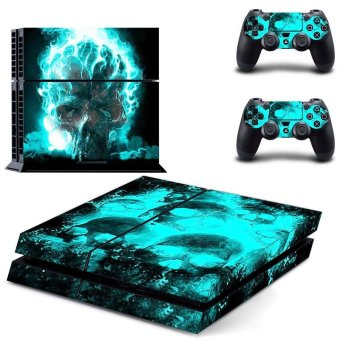 New blue skull fire Decal PS4 Skin Sticker For Sony Playstation 4 PS4 Console protection film and 2Pcs Controller Protective skins - intl