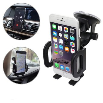 Harga Universal 360° Car Windscreen + Air Vent Holder Mount Stand for Mobile Phone GPS - intl