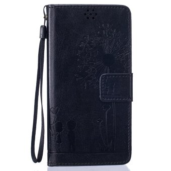 Harga Premium Magnetic Closure PU Leather Emboss Dandelion Wallet case Pattern with Card Slots Wrist Strap Flip Stand Cover for Huawei P9 - intl