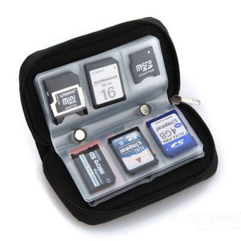 Micro SD MMC CF SDHC Memory Card Carrying Case Bag Holder 20 Slots Black