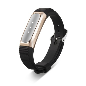 Stainless Steel Protective Case Cover Holder + Silicone Wrist Band Strap for Xiaomi Mi Band 1S /1A Smartband Fitness Tracker in Rose Gold