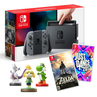Harga Nintendo Switch with Gray Joy-Con Bundle with 2 Games (Legend of Zelda:BoTW and Just Dance) & 3 Free Amiibo