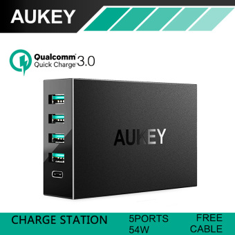 Harga AUKEY Qualcomm 5-port USB3.0 with Type-C Quick Charger Universal Phone tablet Charger(Black)