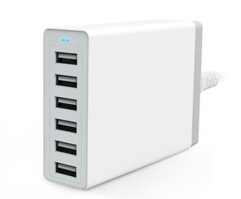Harga 6 port 60W USB Home charging hub multi-port USB charger for Phones and tablets (White)