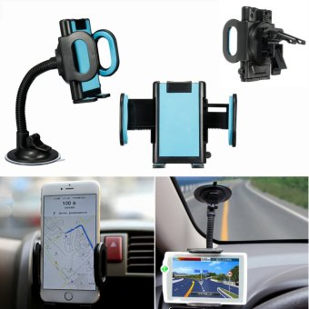 Harga Universal 360° Car Windscreen + Air Vent Holder Mount Stand for Mobile Phone GPS (EXPORT)