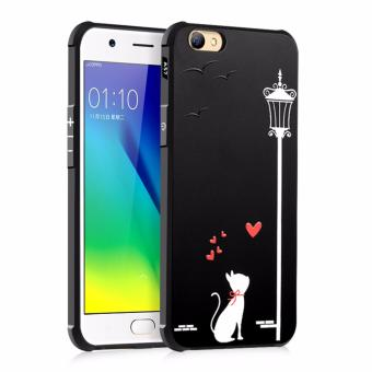 Harga COCOSE Phone Case For OPPO A57 Silicone TPU Back Cover Love Cat Painting Shockproof Waterproof Dirt Resistant Phone Shell (Black) - intl