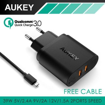 Harga AUKEY PA-T16 36W Dual USB Port Travel Wall Charger With Qualcomm Quick Charge 3.0 (Black)