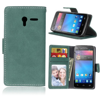 Harga For Alcatel One touch Pixi 3 (4.5 inch) Vintage Retro Matte Wallet Flip Cover PU Leather mobile Phone Bags Protective Case With Card Slots Stand Holder Photo Frame
