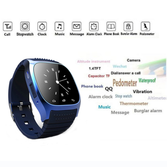 Harga Bluetooth Smart Wrist Watch M26 Sync For Android iPhone Samsung HTC Black