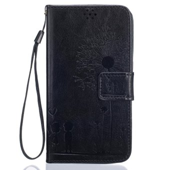 Harga Premium Magnetic Closure PU Leather Emboss Dandelion Wallet case Pattern with Card Slots Wrist Strap Flip Stand Cover for Samsung Galaxy S5 - intl