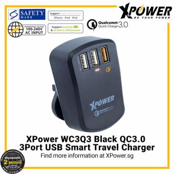 Harga XPower WC3Q3 Qualcomm Quick Charge 3.0 3-Port Smart Travel Charger with Assorted International Plug Included Black