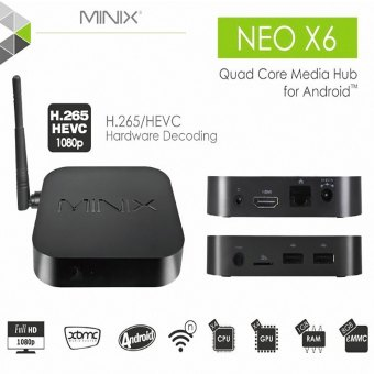 Harga MINIX NEO X6 Amlogic S805 Quad-Core 1GB RAM 8GB ROM Android 4.4.2 WiFi Bluetooth TV Box - UK Plug - intl