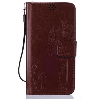 Harga Premium Magnetic Closure PU Leather Emboss Dandelion Wallet case Pattern with Card Slots Wrist Strap Flip Stand Cover for Xiaomi Redmi Note 3 - intl
