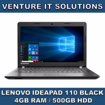 "Harga LENOVO IDEAPAD 110-14IBR BLACK / INTEL CELERON N3060 1.6 GHZ MAX 2.48 GHZ / 4GB RAM / 500GB HDD / INTEL HD GRAPHICS / 14"" LED HD DISPLAY / WINDOWS 10 (Black)"