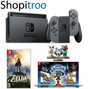 Harga Nintendo Switch Console (Grey) Bundle with 2 Games (The Legend of Zelda: Breath of the Wild & Skylanders Imaginators) and 3 Random Amiibo Figurines + 1 Year Local Warranty