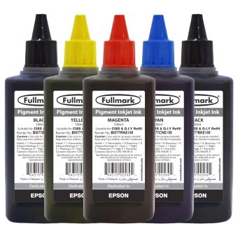 Harga Fullmark Premium Inkjet Pigment Ink Ultra Value Set, 100ml (2 x Black, 1 x Cyan, 1 x Magenta and 1 x Yellow) - compatible with Epson