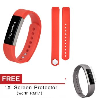 Harga Awinner OEM-Large Size Silicone Watch band Wrist Strap For Fitbit Alta- (red) Free Screen Protector (5-PCS)