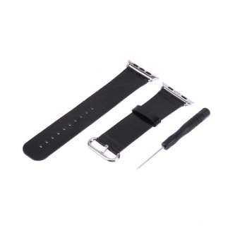 Cowhide Genuine Leather Watchband Strap for Apple Watch(Black)-42mm - intl