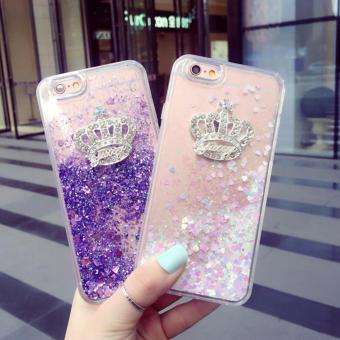 Harga Apple iPhone 6 | 6S | 6 Plus | 6S Plus | 7 | 7 Plus Phone Case Cover - Dynamic Liquid Sand with Glittering Crystal Crown design - Great as Chinese New Year Gifts (Purple iPhone 7)