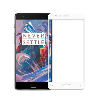 Harga Oneplus 3 Full Cover Premium Tempered Glass Screen Protector One Plus 3 Brand New Protective Film(White) - intl