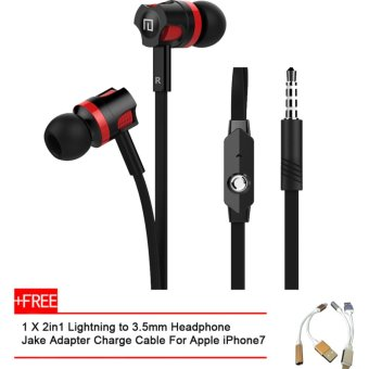 Harga LANGSDOM JM26 Wired In Ear Earphone+1 2in1 Lightning to 3.5mm Headphone Adapter Charge Cable For iPhone7(Buy 1 get 1 Free) - intl