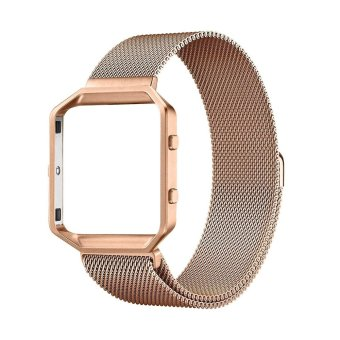 top4cus Frame and Band 2 in1 Milanese Loop Magnet Lock Stainless Steel Bracelet Strap for Fitbit Blaze Smart Fitness Watch---Rose Gold ( Large size )