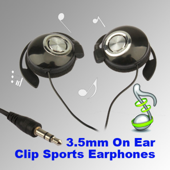 Harga Sport Earphone Clip On Sports On-ear Headphones (Black)