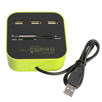 Harga 3 Ports USB 2.0 HUB Multi-card Reader for SD/MMC/M2/MS MP-All In One(Export)