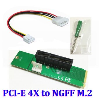 PCIE pci-express PCI Express PCI-E 4X Female x4 to NGFF M.2 M Key Male Adapter Converter Card with Power Cable - intl