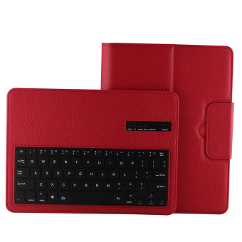Harga Lychee Grain PU Leather Detachable Bluetooth Stand Keyboard Case Cover for Samsung Galaxy Tab S 10.5 T800 T805 Red (EXPORT)