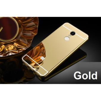 (Gold) Aluminium Mirror Bumper Case Casing Cover for Xiaomi RedmiNote 4