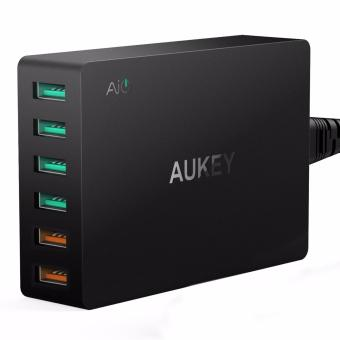 Harga Aukey 60W 6Ports USB Desktop Wall Charger Compatible With Qualcomm Quick Charge 3.0 PA-T11