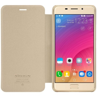 Harga NILLKIN Sparkle Series Super Thin Leather Phone Case Shell for Asus Zenfone 3s Max ZC521TL - Gold - intl